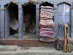 Traditional Fabric Shop in Kathmandu, Nepal, Asia by John Woodworth