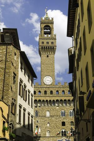 View Towards the Tower of the Palazzo Vecchio, Florence, Tuscany, Italy