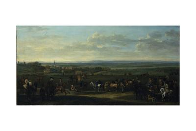 A View of Old Newmarket with Figures and Horses on the Heath