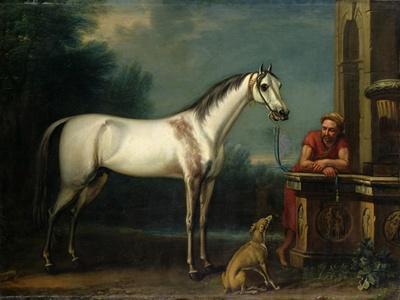 "Lord Oxford's ""Bloody-Shouldered Arabian"" Held by a Groom in Arabian Dress"
