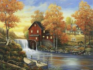 Autumn Sunset at the Old Mill by John Zaccheo