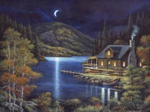 Moonlit Cabin by John Zaccheo