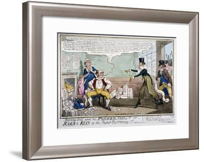 Johnny Bull and His Forged Notes!!!, 1819-George Cruikshank-Framed Giclee Print