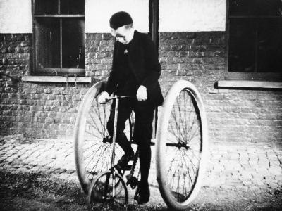 Johnny Dunlop Riding His Tricycle with Rubber Tyres, 1888--Photographic Print