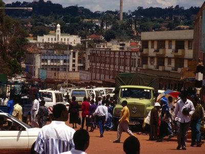 People and Traffic on Busy Street, Kampala, Uganda