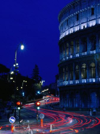 Roman Colosseum at Night, Rome, Italy