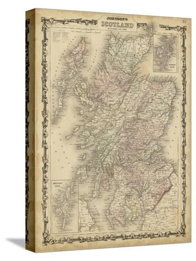 Johnson's Map of Scotland--Stretched Canvas Print