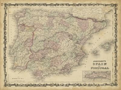 Johnson's Map of Spain & Portugal--Art Print