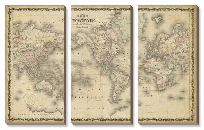 Johnson's Map of the World--Canvas Art Set