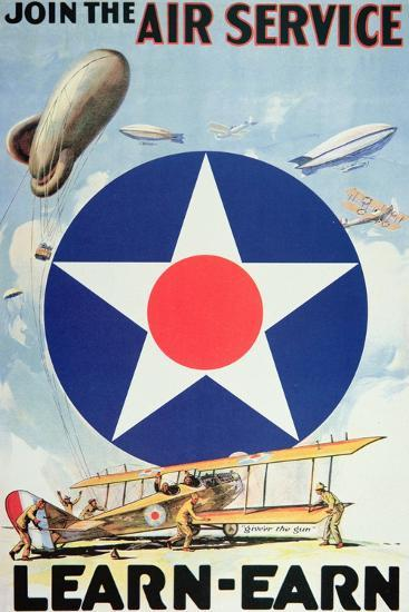 Join the Air Service'- American Recruiting Poster--Giclee Print