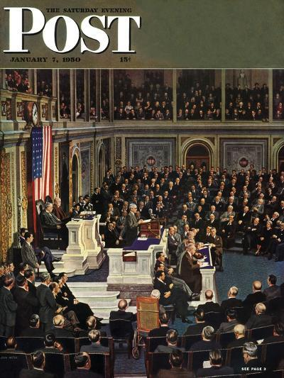 """Joint Session of Congress,"" Saturday Evening Post Cover, January 7, 1950-John Falter-Giclee Print"
