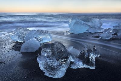 Jokulsa Beach at Sunrise, on the Edge of the Vatnajokull National Park, South Iceland-Lee Frost-Photographic Print