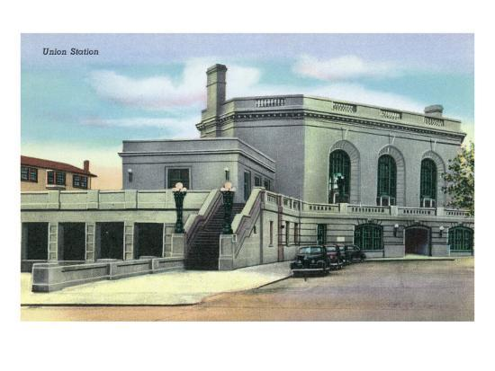 Joliet, Illinois - Exterior View of Union Station, c.1944-Lantern Press-Art Print