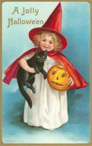 Jolly Halloween, Little Girl Witch with Cat and Jack O'Lantern
