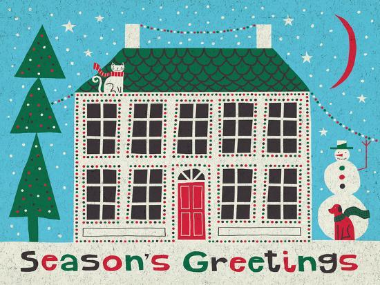 Jolly Holiday Home on Blue-Michael Mullan-Art Print