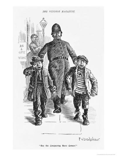 Jolly Plump Police Constable and His Tearful Prisoners-Percy Bradshaw-Giclee Print