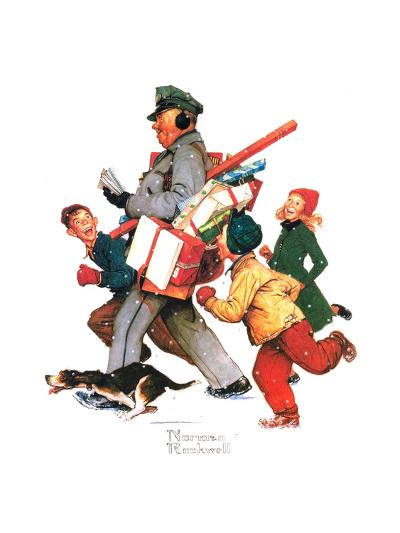 Jolly Postman-Norman Rockwell-Giclee Print