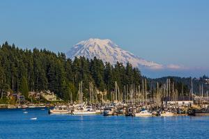 Gig Harbor, Washington State. Mount Rainier over Gig Harbor marina and boats by Jolly Sienda