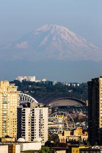 Seattle, Washington State. Giant Mount Rainier looking over Safeco Field Stadium, ferris wheel and  by Jolly Sienda