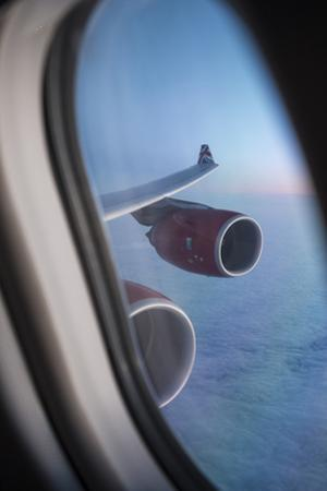 Airbus A340 Aircraft, View Out of the Window with Engine and Wing