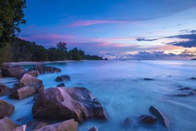 Beach at Sunset, La Digue, Seychelles by Jon Arnold