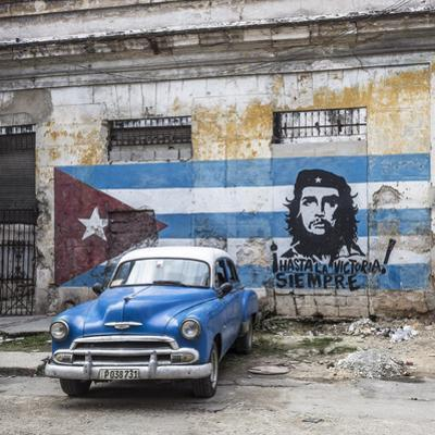 Classic American Car and Cuban Flag, Habana Vieja, Havana, Cuba