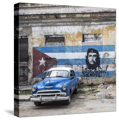 Classic American Car and Cuban Flag, Habana Vieja, Havana, Cuba