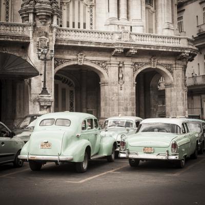 Classic American Cars in Front of the Gran Teatro, Parque Central, Havana, Cuba