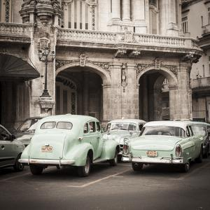 Classic American Cars in Front of the Gran Teatro, Parque Central, Havana, Cuba by Jon Arnold