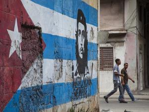 Cuban Flag Mural, Havana, Cuba by Jon Arnold