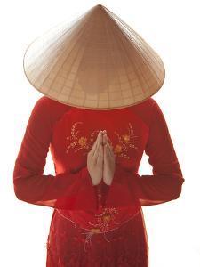 Girl Wearing Ao Dai Dress, Hanoi, Vietnam by Jon Arnold