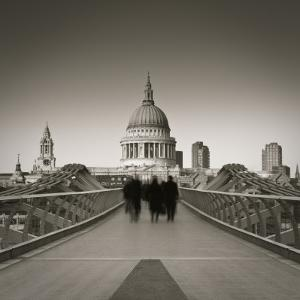 Millennium Bridge and St. Paul's Cathedral, London, England by Jon Arnold