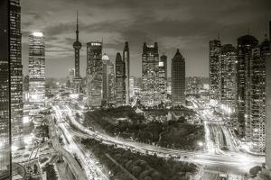 Oriental Pearl Tower and Lujiazui Skyline, Pudong, Shanghai, China by Jon Arnold