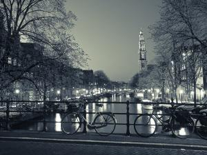 Prinsengracht and Wsterkerk, Amsterdam, Holland by Jon Arnold