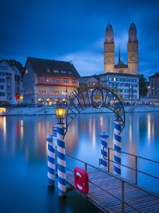 River Limmat and Grossmunster Church, Zurich, Switzerland by Jon Arnold