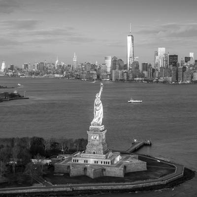 Statue of Liberty and Lower Manhattan, New York City, New York, USA