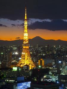 Tokyo Tower and Mt; Fuji from Shiodome, Tokyo, Japan by Jon Arnold