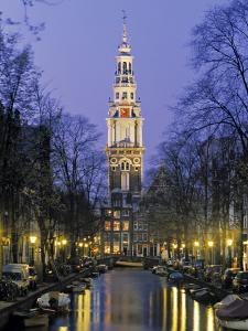 Zuiderkerkand Canal at Night, Amsterdam, Holland by Jon Arnold
