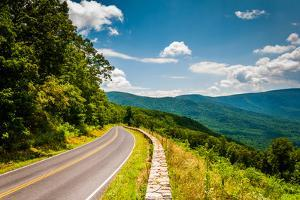 Skyline Drive and View of the Blue Ridge Mountains, in Shenandoah National Park, Virginia. by Jon Bilous