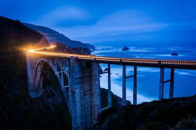 The Bixby Creek Bridge at Night, in Big Sur, California.