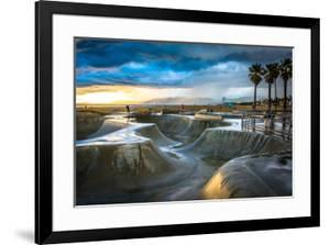 The Venice Skate Park at Sunset, in Venice Beach, Los Angeles, California. by Jon Bilous