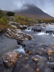 Mountains Shrouded in Low Cloud in An Autumn View of Glen Sannox, Isle of Arran, Scotland, Uk by Jon Gibbs