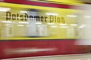 Commuter Train Speeding through Potsdamer Platz U-Bahn Station by Jon Hicks