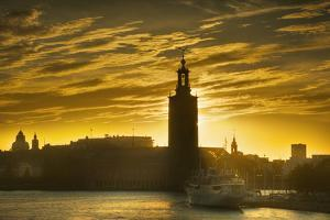 Sunset behind Stadshuset Bell Tower in Stockholm by Jon Hicks