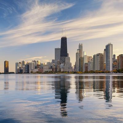 The Chicago Skyline over Lake Michigan