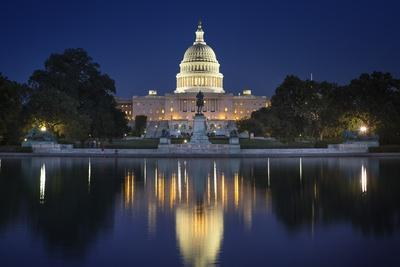 The US Capitol and Reflecting Pool.