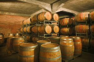 Wine Casks Stacked in Wine Cellar by Jon Hicks