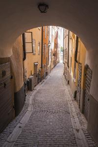 Arch and cobblestone alley in historic Gamla Stan, Stockholm, Sweden, Scandinavia, Europe by Jon Reaves
