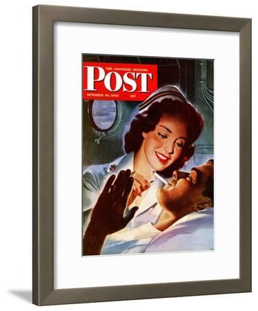 """Lighting His Cigarette,"" Saturday Evening Post Cover, October 23, 1943"