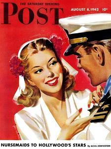 """""""Naval Officer & Woman,"""" Saturday Evening Post Cover, August 8, 1942 by Jon Whitcomb"""